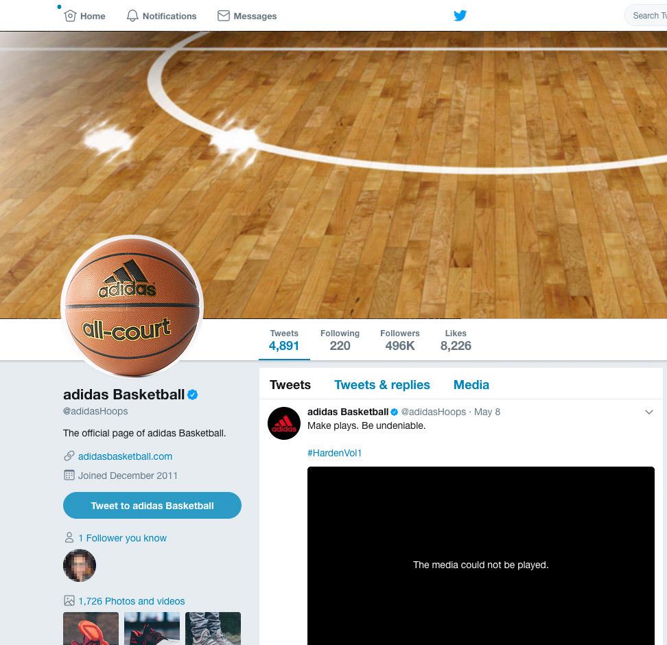 mockup Adidas Basket Twitter profile